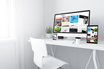 devices on white minimal workspace portfolio