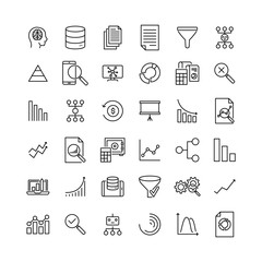 Simple collection of big data related line icons. Thin line vector set of signs for infographic, logo, app development and website design. Premium symbols isolated on a white background.