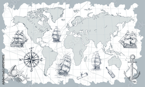 Hand drawn vector world map with compass, anchor and sailing ships ...