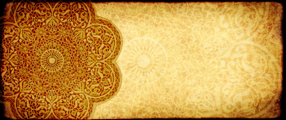 Foto op Aluminium Marokko Grunge background with paper texture and floral ornament in Moroccan style