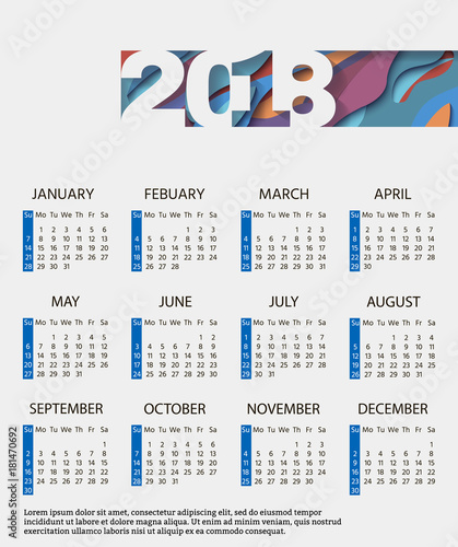 monthly calendar 2018 with an abstract design winter spring summer autumn