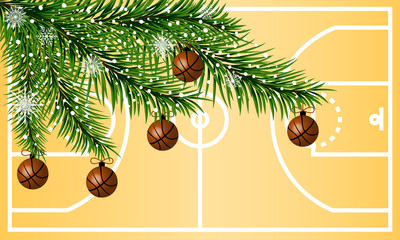 Happy New Year greeting card. Basketball greeting card.