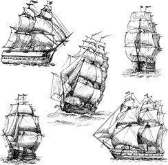 Hand drawn vector set of vintage sailing ships in the sea