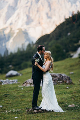 Amazing wedding couple in the Alps