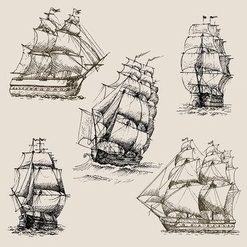 Hand drawn vector set of vintage sailing ships in the sea.