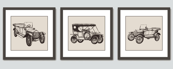 Frames on wall. Vector hand drawn pictures; sketches of vintage retro cars.