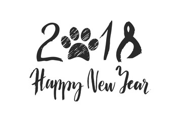 Calligraphy for 2018 New Year, hand drawn lettering with paw print on white background.