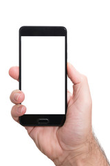 right hand of male person holding smartphone with empty screen isolated on white template