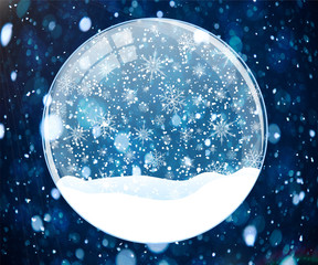 Snow globe on blue background with bokeh