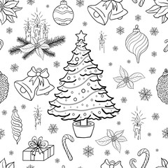 Seamless pattern background with christmas decorative elements. Coloring book page vector