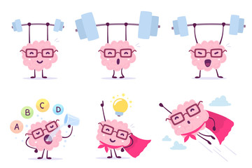 Very strong, healthy and smart cartoon brain concept. Vector set of illustration of pink color brain with glasses with bar, light bulb, vitamin on white background.