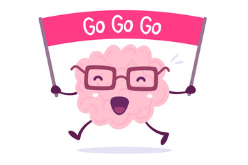 Inspiring cartoon brain concept. Vector illustration of pink color human brain with glasses holds the motivating banner on white background.