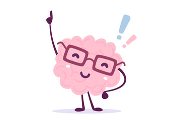 Vector illustration of pink color human brain with glasses invented something on white background. Founding the answer cartoon brain concept.