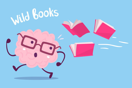Vector illustration of pink color brain with glasses running away from books flying behind on blue background.