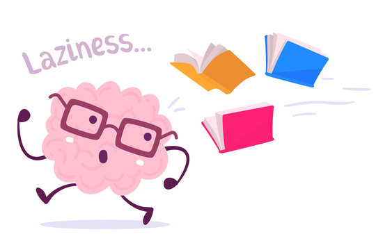 Vector illustration of a brain avoiding knowledge cartoon concept. Pink color lazy brain with glasses running away from color books flying behind on white background.