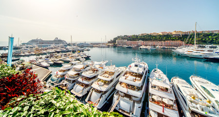 Printed roller blinds Port Panoramic view of port in Monaco, luxury yachts in a row