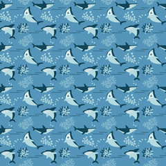 Cool sharks and seaweeds seamless pattern.