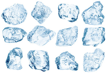 Set peaces of pure natural crushed ice/ice cubes. Clipping path for each cube included.