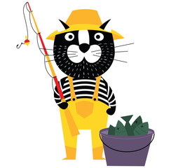Cool cartoon cat like fisherman with bucket of fishes and fishing pole