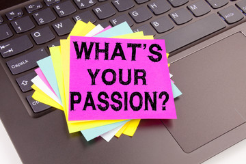 Writing Question What Is Your Passion text made in office close-up on laptop computer keyboard. Business concept for Goal Motivation Plan Workshop on the black background with space