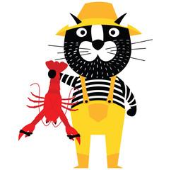 Cool cartoon cat like fisherman holding lobster.