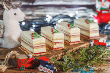 Christmas cakes with decoration. New Year holiday concept