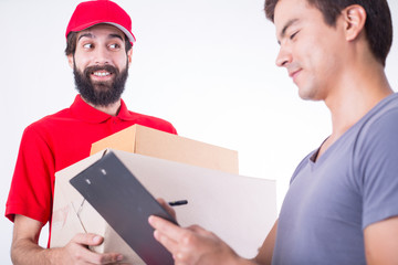 Delivery man  holding package product