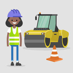Young black female engineer wearing hard hat and reflecting vest. Asphalt paving works. Industrial illustration. Yellow steamroller and orange cone. Flat vector illustration, clip art.