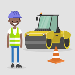 Young black engineer wearing hard hat and reflecting vest. Asphalt paving works. Industrial illustration. Yellow steamroller and orange cone. Flat vector illustration, clip art.