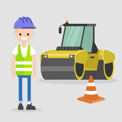 Young engineer wearing hard hat and reflecting vest. Asphalt paving works. Industrial illustration. Yellow steamroller and orange cone. Flat vector illustration, clip art.