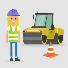 Young female engineer wearing hard hat and reflecting vest. Asphalt paving works. Industrial illustration. Yellow steamroller and orange cone. Flat vector illustration, clip art.