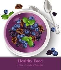 Blueberry banana vanilla smoothie Vector realistic. Healthy food templates