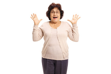 Surprised senior lady gesturing with her hands