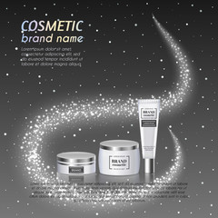 3D realistic cosmetic bottle ads template. Cosmetic brand advertising concept design with glittering dust background