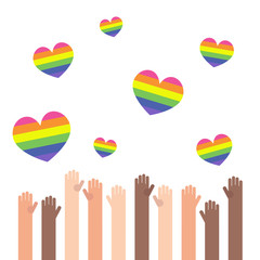 LGBT rainbow hearts. Celebrating gay people rights. Same-sex love. Pride. Flat editable vector illustration, clip art