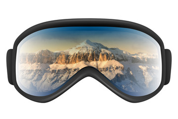 Ski goggles with reflection of mountains