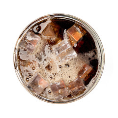 Cola soda with ice on glass isolated on white background top view object design