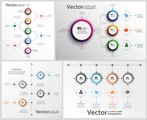 Set of colorful abstract Infographic design. Can be used for workflow layout, diagram, business step options, banner, web design. Vector eps10 business template for presentation