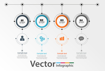 Vector abstract  infographic element for business.  Steps of development, teamwork. Business concept illustrated in 4 stages, parts, steps. Graph, diagram, presentation. eps 10
