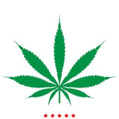 Cannabis (marijuana) leaf icon .  Flat style