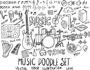 Set of Music illustration Hand drawn doodle Sketch line vector eps10
