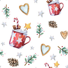 Watercolor Christmas seamless pattern with traditional decor and elements. Branches with berries, gingerbread hearts, stars, cones and red mugs with hot cocoa or chocolate, cinnamon and marshmallow.