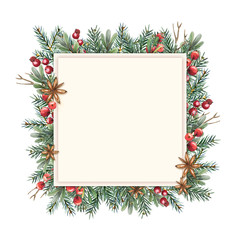 Watercolor Christmas frame square shape with a place for your wishes and greetings. Template of fir branches, boxwood, red berries and anise stars on a white background.