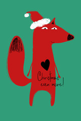 Christmas Greeting Card With Funny Fox.