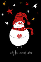 Christmas Greeting Card With Funny Snowman.
