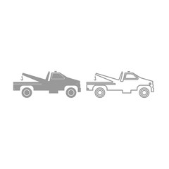 Breakdown truck icon. Grey set .