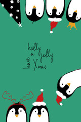 Christmas Card With Penguins.