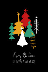 Christmas Greeting Card With Trees.