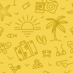 Summer vacation pattern with different travel icons in linear style.
