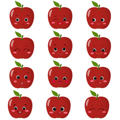 Set of flat icons of red apples smiles.